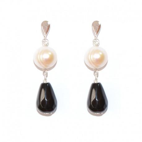 8c19415e033e Pendientes de plata con ágatas facetadas y perlas cultivadas de la  colección de joyas de plata