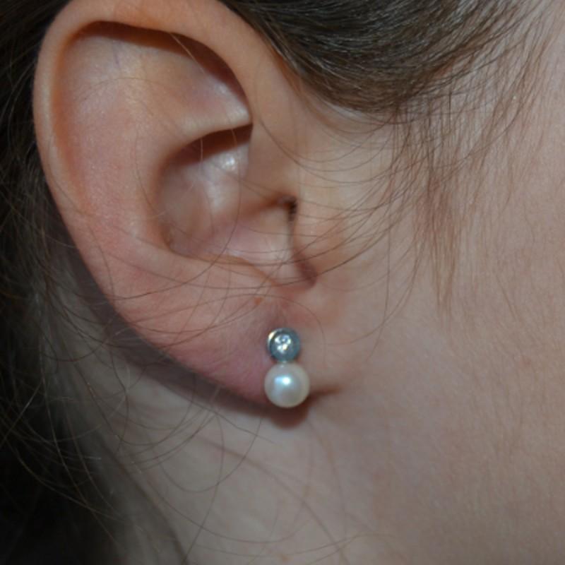 Pendientes de plata tu y yo con perlas circonitas con anillos de joyas de plata primera comuni n - Fotos de pendientes ...