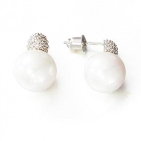 Pendientes Rodio y perla de la colección de joyas de la serie de TV Velvet para PlataScarlata