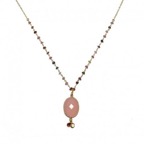 Colgante  de plata chapado oro y ágatas de las joyas artesanales PlataScarlata  PSO52031