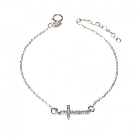 76f9a27fd413 Pulsera de plata 925 con cruz de circonitas de la colección de joyas de plata  para