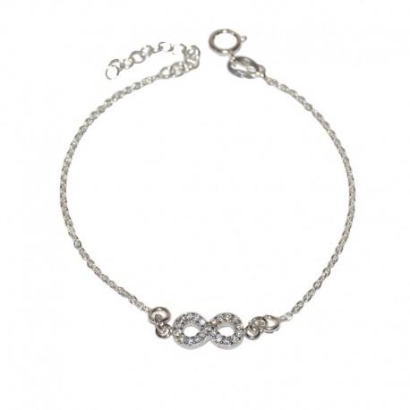 c4d7a0f5ca37 Pulsera de plata 925 con infinito de circonitas brillantes de las joyas de plata  para mujer