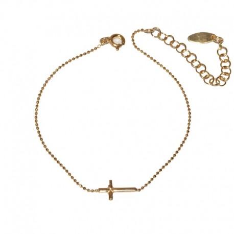 Pulsera de plata con baño oro con motivo cruz The Essentials para la joyería online PlataScarlata