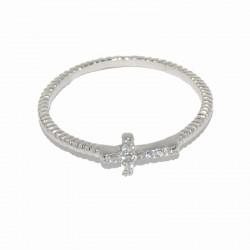 Anillo de plata y cruz de circonitas de la firma de joyas de plata para mujer The Essentials TEP51014