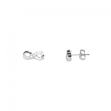 Pendientes de plata y circonitas con motivo de infinito de la colección de joyas para mujer The Essentials