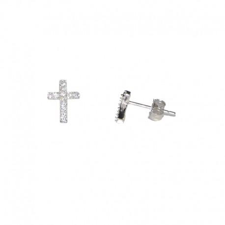 5488441fc749 Pendientes de plata con cruz de circonitas de la colección de joyas para  mujer The Essentials