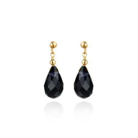 Pendientes plata baño oro con cuarzo facetado negro de la colección de joyas de plata para mujer para la joyería online PlataSca