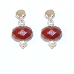 Pendientes de plata con ágatas facetadas y perlas cultivadas de la colección de joyas de plata para PlataScarlata PSP54035