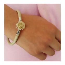 Pulsera de plata y piel con motivo rosa de la colección de joyas de plata para mujer de la joyería online PlataScarlata PSP53002