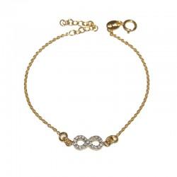 Pulsera de plata 925 baño oro con infinito de  circonitas brillantes de la colección de joyas de plata The Essentials  TEO54003