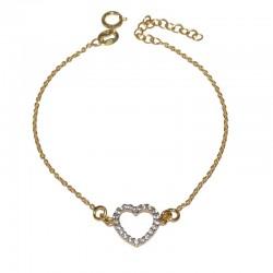 Pulsera de pl0ata 925 baño oro  con corazón de circonitas brillantes de The Essentials TEO54008