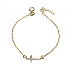 Pulsera de plata 925 baño oro con circonitas brillantes TEO54011