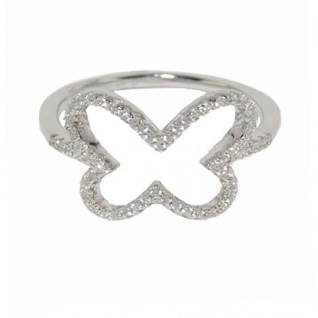 Anillo de plata con mariposa en pavé de circonitas The Essentials para la joyería online PlataScarlata TEP51003