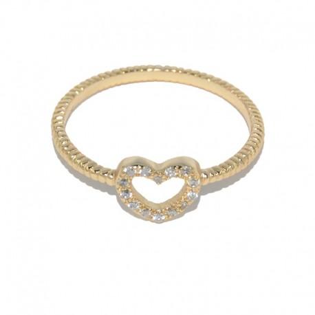 Anillo de plata chapado de oro con corazón de circonitas de la colección de joyas de plata paara mujer The Essentials TEO51015