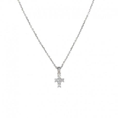 Colgante de plata y cruz de circonitas de la marca de joyas de plata para mujer  para la joyería online PlataScarlata