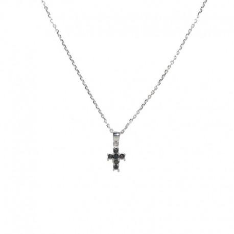 Colgante de plata y cruz de circonitas negras de la colección de joyas para mujer The EssentialsTEP52008