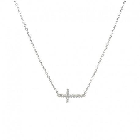 Colgante de plata  con cruz de  circonitas brillantes de la firma de joyas de plata para mujer The Essentials TEP52012