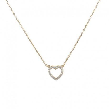 Colgante de plata chapado de oro con corazón de circonitas de la firma de joyas de plata para mujer The Essentials TEO52014