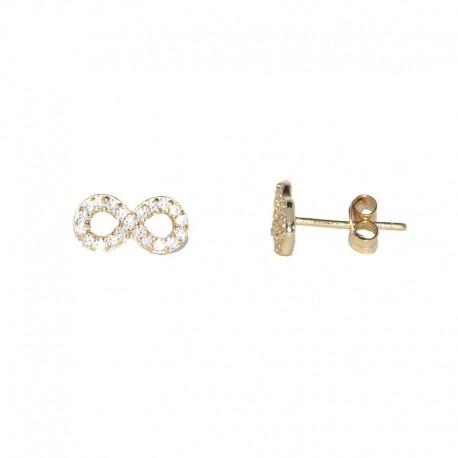 Pendientes de plata chapados de oro con infiito de circonitas de The Essentials TEO53013